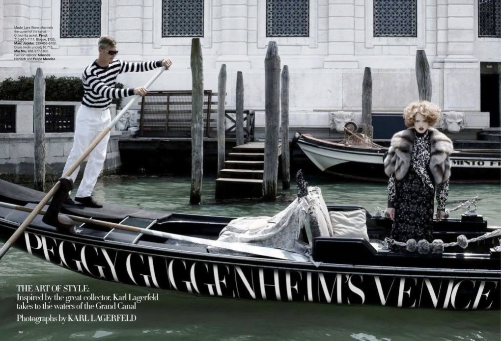 HARPER'S BAZAAR - 2009 Photographer: Karl Lagerfeld Model: Lara Stone Stylist: Amanda Harlech Location: Venice - Italy