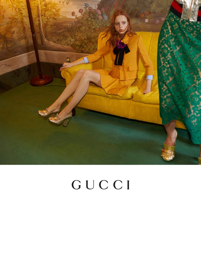 GUCCI - Gucci Cruise 2016 Photographer: Glen Luchford Model: Kadri Vahersalu - Rhiannon McConnell - Tami Williams - Laurie Harding - Taavi Mand Stylist: Jane How - Art Director: Chris Simmonds Location: Florence - Italy