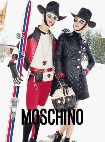 MOSCHINO - 2012 Photographer: Juergen Teller Model: Ophelie Rupp & Ymre Stiekema Stylist: Anna Dello Russo Location: St. Moritz - Switzerland