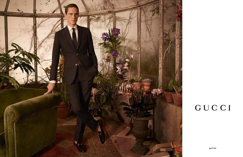 GUCCI - Men's Tailoring 2016 Photographer: Glen Luchford Model: Roch Barbot Stylist: Jonathan Kaye