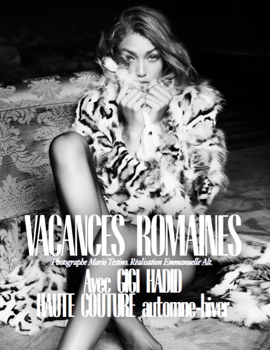 VOGUE PARIS - November 2016 Photographer: Mario Testino Model: Gigi Hadid Location: Rome, Italy
