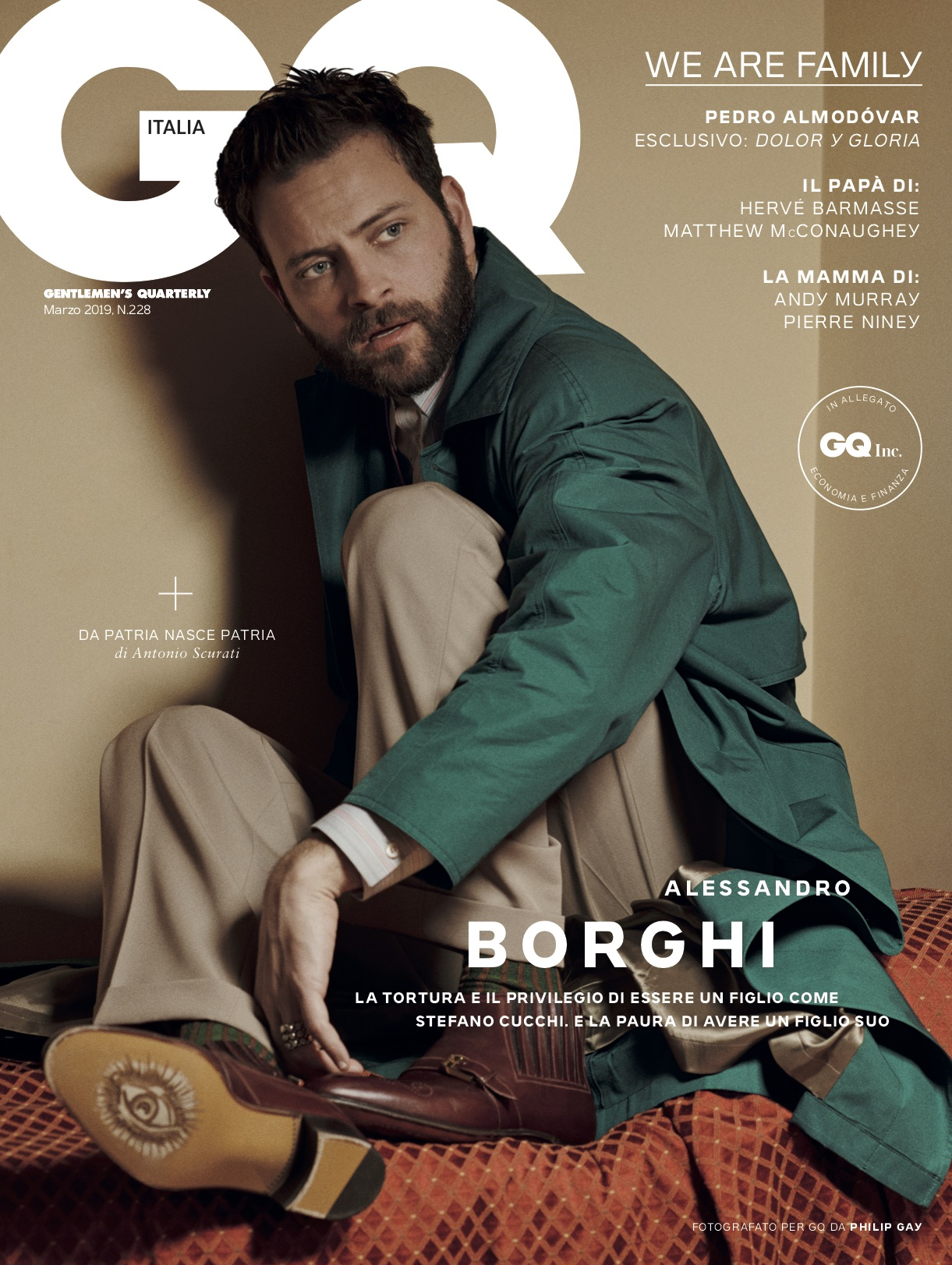 GQ ITALIA - Marzo 2019 Photographer: Philip Gay Model: Alessandro Borghi
