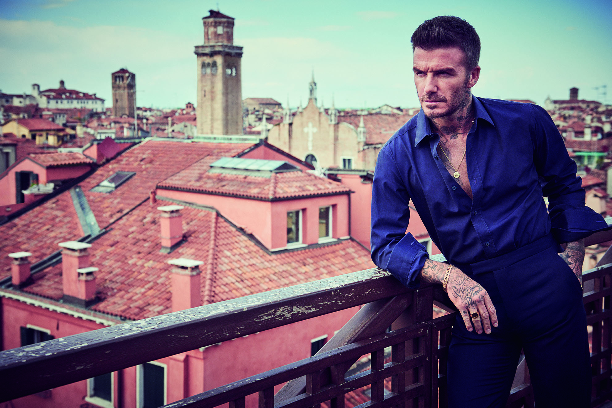 GQ UK - On location in Venice with David Beckham Photographer: Matthew Brookes Model: David Beckham Stylist: Cathy Kasterine Location: Venice, Italy